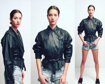 Vtg 80s Black Leather Belted Jacket
