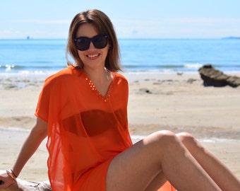Stunning orange chiffon beach kaftan with sequin trim