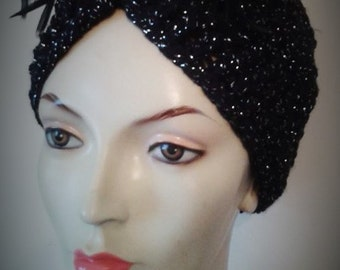 1920's hat, turban, Flapper headband, gatsby costume, 1940s style turban