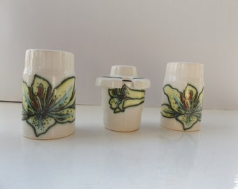 vintage 1970s 60s cruet set salt pepper mustard pot palissy royal worcester ceramic homeware kitchen orchid flowers pretty