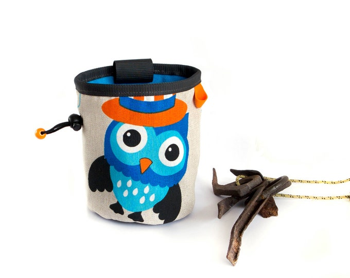 Funky Chalk Bag Climbing. Rock Climbing Bag. Owl Chalkbag. Large Chalk Bag - L Size