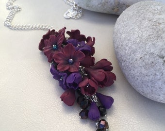 Dark Red & Purple Flowers Necklace, Floral Pendant, Polymer Clay Flower Necklace, Pendant with Flowers, Gift Idea, Pendant for Women