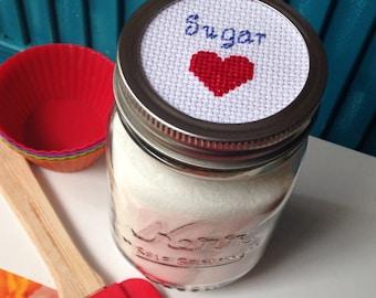 Sugar Mason Jar, Mason Jar Decor, Mason Jar Lid, Cross Stitch Jar Lid