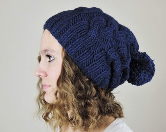Navy Blue (or Choose Color) Hand Knitted Beanie, Slouchy Beanie, Cable Knit Hat, Pom Pom Beanie, Mens Wool Hat, Dark Blue Beanie