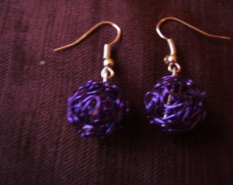 Purple wire bead earrings