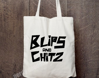 RICK AND MORTY Inspired Tote Bag, Blips and Chitz Inspired Tote Bag, Market Bag, Reusable Grocery Bag, Rick and Morty Fandom
