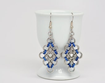 Japanese Diamond Earrings in Stainless Steel and Blue Anodized Aluminum