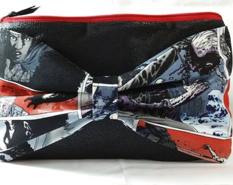 The Walking Dead Bow Clutch purse pouch case carrier makeup bag