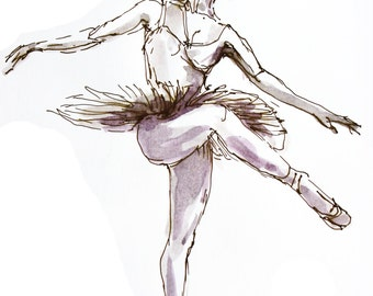 ORIGINAL Drawing, painting, ballerina, ADAGIO, original art, wall art, ballet art, dance art