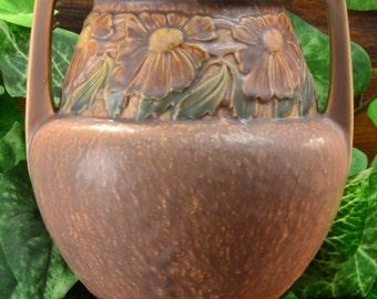Roseville Pottery 1920's Trial Glaze Dahlrose Vase (Shape 367) Tawny Beige