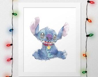 STITCH, Disney Stitch, Stitch Print, Lilo And Stitch, Disney Print, Disney Lilo Stitch, Disney Watercolor, Disney Nursery, Digital Print