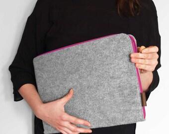 FELT LAPTOP SLEEVE MacBook cover gray felt with pink zipper Macbook air 13, Macbook pro, retina and all other laptops