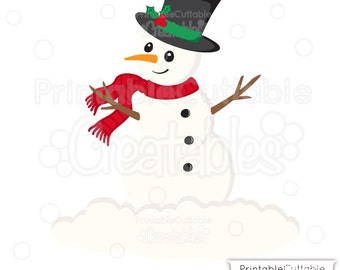 Christmas Snowman SVG Cutting File & Clipart - Includes Limited Commercial Use!