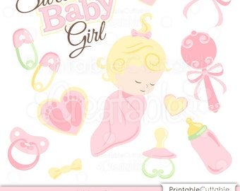 Sweet Baby Girl SVG Cut Files & Clipart Scrapbook Embellishment Set - Includes Limited Commercial Use!