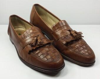 Vintage Florsheim Men's Tassel Loafers Brown Kilties Woven Italy EUC! Size 12 D