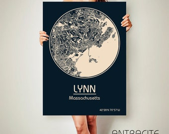 LYNN Massachusetts CANVAS Map Lynn Massachusetts Poster City Map Lynn Massachusetts Art Print Lynn Massachusetts poster Lynn