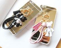 mirror phone case with cute bear charm, leather strap case, iPhone, samsung phone, couple phone, phone charm, mobile case, iPhone gift