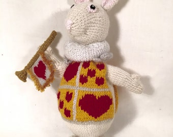 Stuffed Animal White Rabbit : Alice In Wonderland (hand knit children's toy, nursery decor)