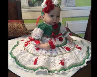 Crochet Christmas Dress pattern, dress pattern, baby dress pattern, baby pattern, Christmas pattern