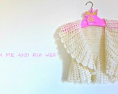 Crochet alpaca new wool white shrug, precious shawl for girls, warm and soft wrap, elegant vest for children, ready to ship