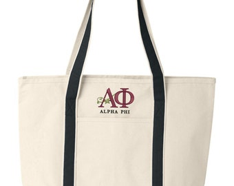 Alpha Phi Large Canvas Tote Bag,  Alpha Phi Logo Beach Bag, Alpha Phi College Book Bag, Alpha Phi Tote, Carry All, Large Sturdy Tote