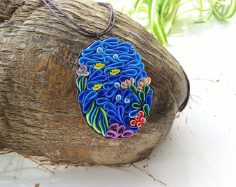 Pendant Underwater, polymer clay necklace, ocean jewelry sea pendant quilling jewelry underwater necklace blue pendant