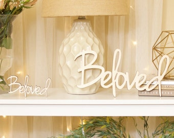 BELOVED, wood wall decor, home, word, baltic birch, sign, phrase, decoration