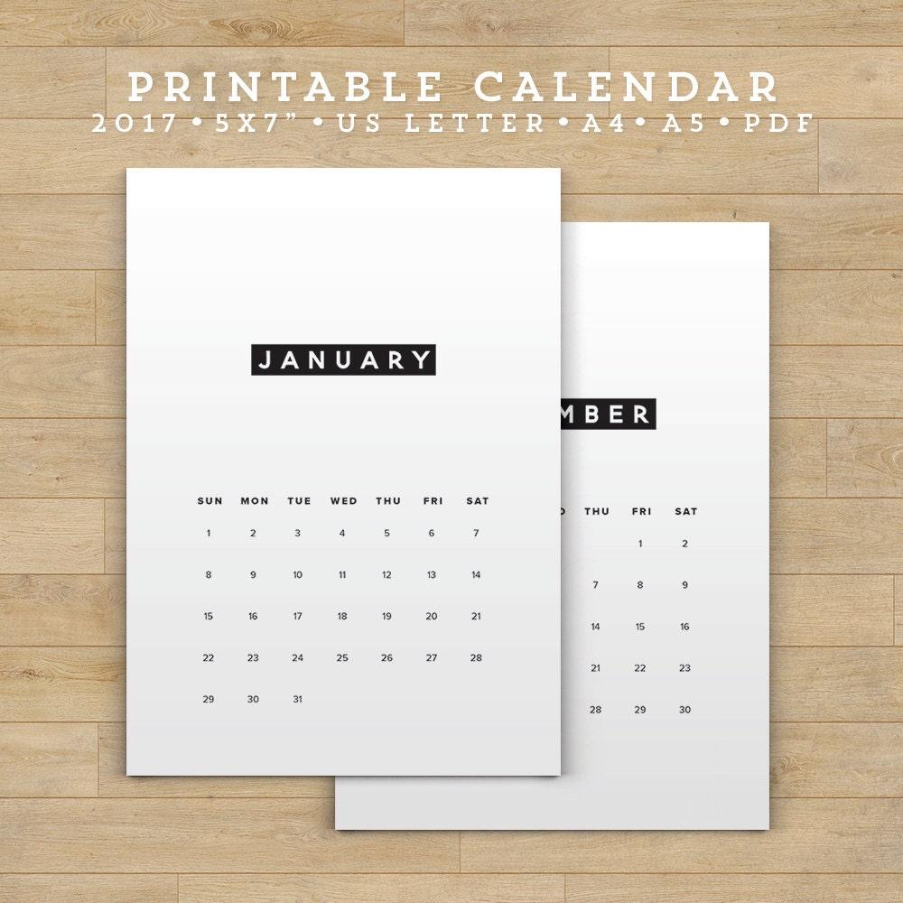 Sale Printable Calendar 2017 Minimalist Calendar Planner 2017