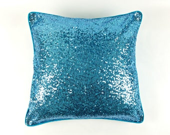 Blue Sequin Cushion | Sequin Throw Pillow | Sparkle Accent Pillow | Sky Blue Glitter Pillow | Blue Decor | Hostess Gift | Sequin Cushion