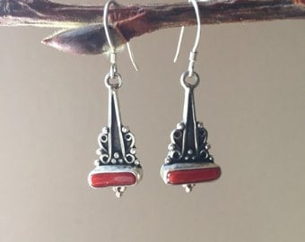 Tibetan silver dangle earring with coral stone