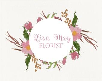 Watercolor Logo Design, Custom Logo Design,Floral Branding, Logo Design,Premade Branding, Business Logo,Watercolor Floral logo