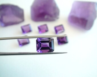 February Birthstone Natural African Amethyst 11x9 mm Faceted Octagon . Excellent Color and Quality. Valentine Gift. Price per piece.