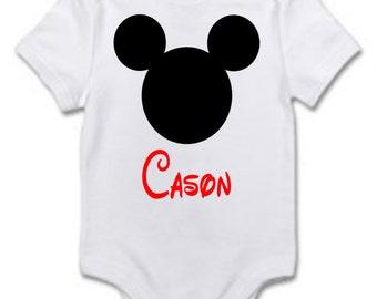 Disneyland First Trip Personalized Baby Name Bodysuit Handmade Made to Order Custom
