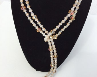 Neutral Swarovski Crystal Long Necklace
