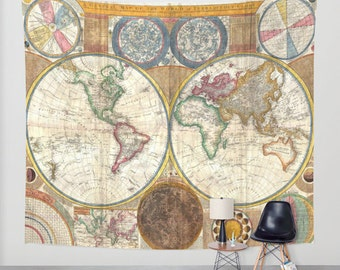 Old World Map. Wall Tapestry Home Decor. Tapestry Wall Hanging. Ancient Map. Vintage Map. Vintage Home Decor. TMO02
