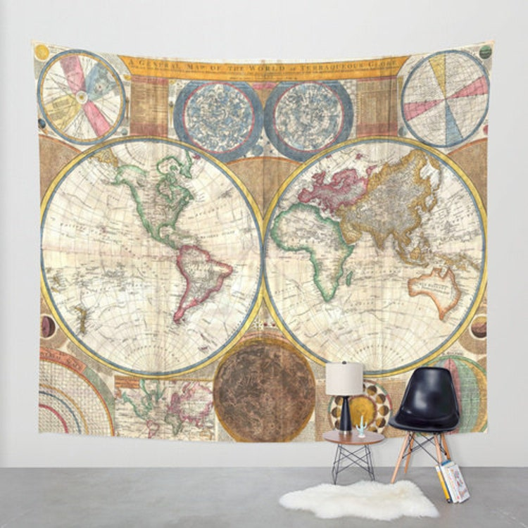 Old world map wall decor : Old world map wall tapestry home decor by fromflorawithlove