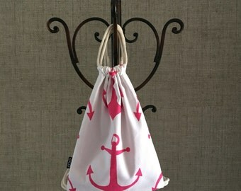 Nautical Drawstring Backpack - Anchors Aweigh - Pink and White - Delta Gamma Cinch Sack - Nautical Purse - OCD