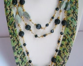 Green and Black Jewelry Statement Long Multi Strand Boho style Necklace, Beaded Serpentine and Agate Holiday Necklace, Fashion jewelry