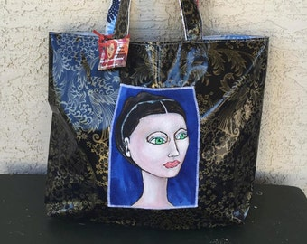 Kate One of the Girls Oilcloth Handmade Hand Painted Tote - Handbag - Purse