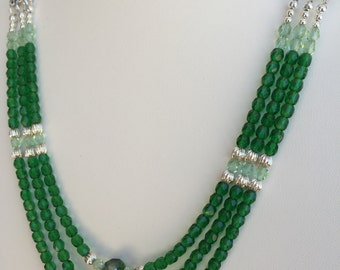Green Multi Strand Glass Bead Necklace