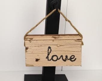 Wood Sign - Love Mini - Valentine's Day, Reclaimed Wood Sign, Door Hanger, Wall Decor, Home Decor