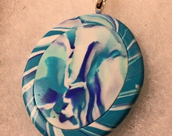 Polymer clay pendant mixed coloured blue turquoise and white on Silver plated chain