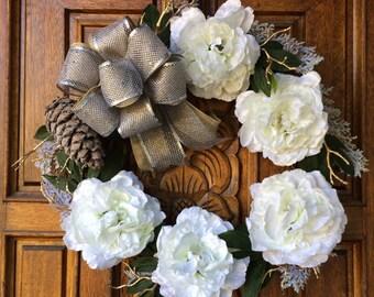 Snow Flower Wreath / Winter Wreath / Holiday Wreath / Christmas Wreath / Flower Wreath / White Wreath / White Flower Wreath / Burlap Wreath