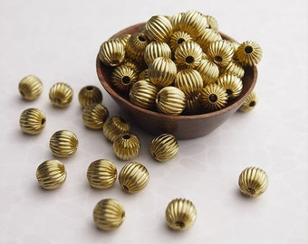 20 Metal Round Fluted Beads Brass Size 8mm