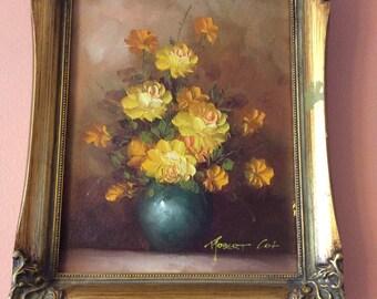 Oil on Wood, Original Oil Painting, Robert Cox, 1970s, Yellow Roses, Blue Vase (B194)