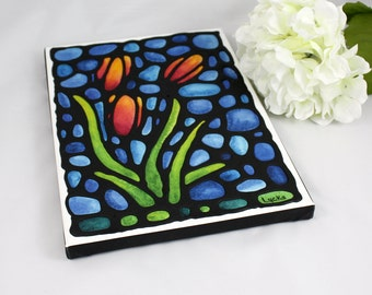 Tulip Print on Canvas with Hand Painted Outlines - Red & Yellow Flower on Cobalt Blue Background - 9 x 12 inch by artist Kathy Lycka