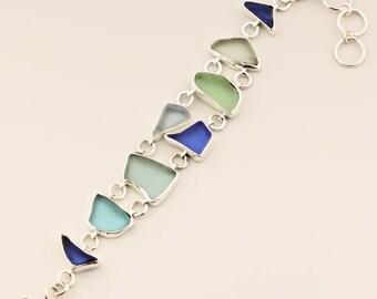 Blue Beach Glass Bracelet, Blue Sea Glass in Sterling Silver Bracelet