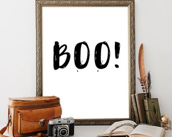 Printable art BOO Halloween print INSTANT DOWNLOAD Quote print Halloween decor Minimalist wall decor Kids wall art Childrens room decor