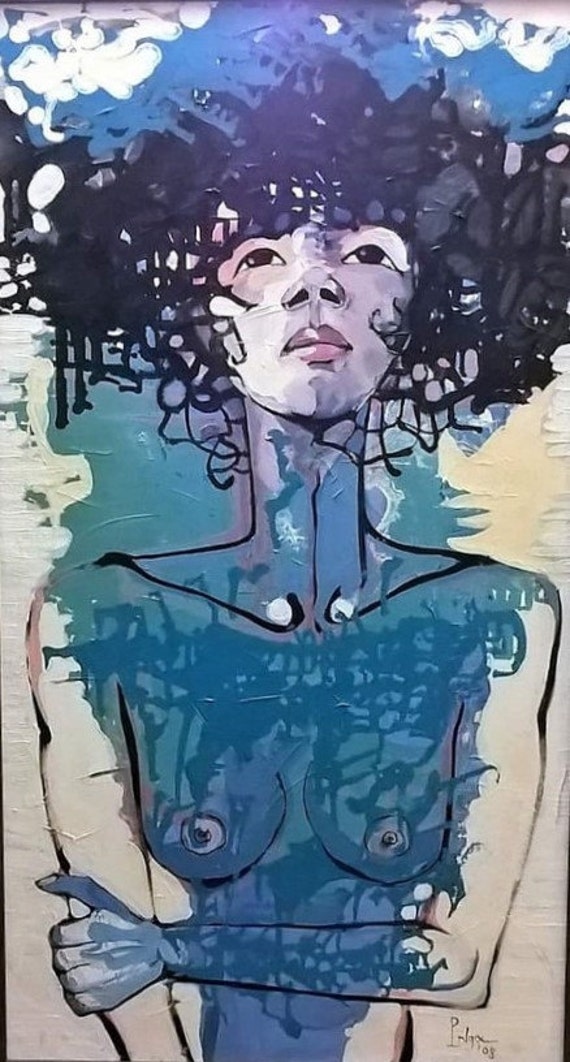 """Look Up...So Beautiful 20x36"""" oil on canvas, nude art, wall decor, original painting by Nguyen Ly Phuong Ngoc"""