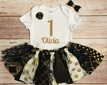 1st Birthday Baby Outfit, Baby Girl 1st Birthday, Black and Gold 1st Birthday Outfit, Black and Gold Baby Tutu Outfit, 1st Birthday Tutu Set